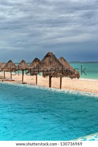 Pool at Playa del Carmen, Mexico - stock photo