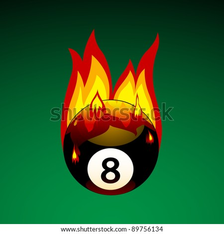 Pool Ball No. 8 on Fire - Bitmap Illustration - stock photo