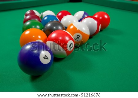 Pool balls before the starting hit