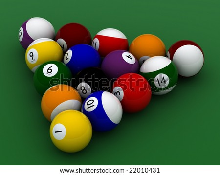 pool balls hight quality on green