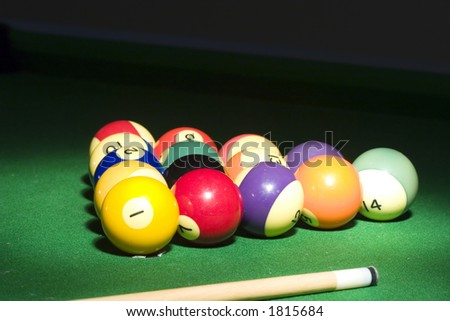 pool balls in a spot light - stock photo