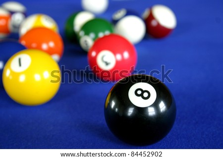 Pool balls on blue pool table