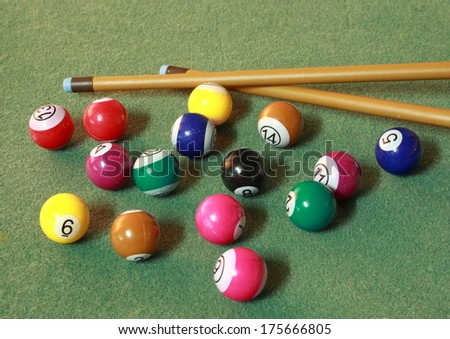 Pool balls on green cloth iwith cues