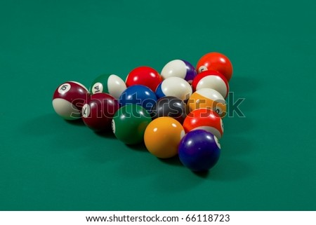 Pool balls set up for beginning - stock photo
