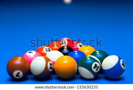 Pool balls triangle on blue billiard table, waiting to play. - stock photo