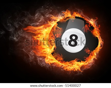 Pool billiards ball in fire flames isolated on black background.