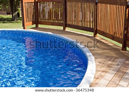 Pool Deck and Railing - stock photo