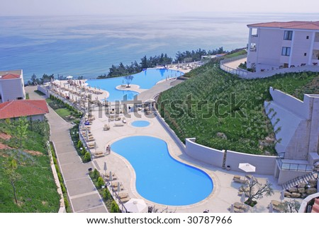 pool during the summer in Greece - stock photo