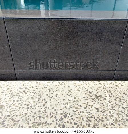 Pool Edging Tiling and Paving Detail - stock photo
