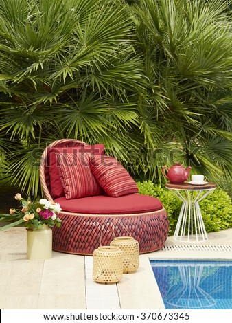 pool furniture decoration and garden concept - stock photo