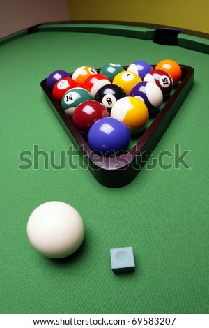 Pool game on table! Billiard game