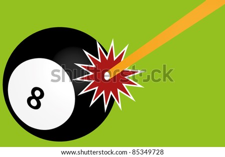 Pool game with eight snooker ball - stock photo