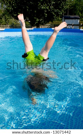 Pool Handstand - stock photo