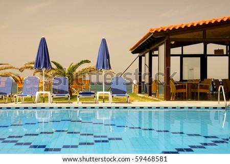 Pool in hotel - stock photo
