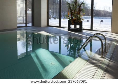 pool in hotel spa interior - stock photo