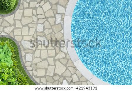 pool in mediterranean garden architecture in top view - stock photo