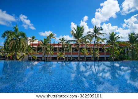 Pool in the resort and spa luxury tropical hotel - stock photo