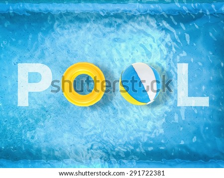 pool letter on pool background top view - stock photo