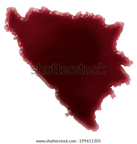 Pool of blood (or wine) that formed the shape of Bosnia and Herzegovina. (series)