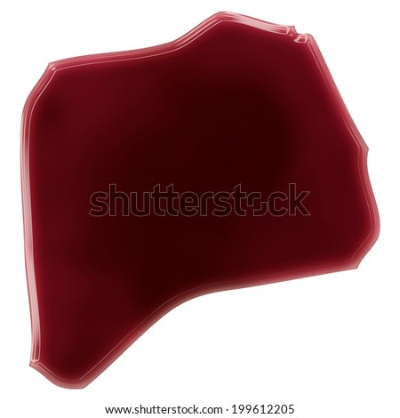 Pool of blood (or wine) that formed the shape of Rwanda. (series) - stock photo
