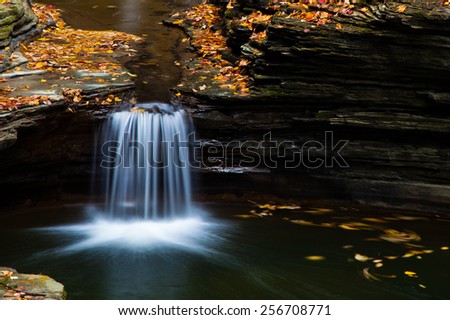 Pool of water with water fall, surrounded by fallen autumn leaves - stock photo
