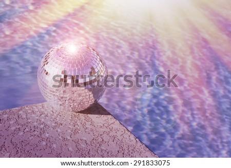 Pool party - club flyer concept - disco ball  - stock photo