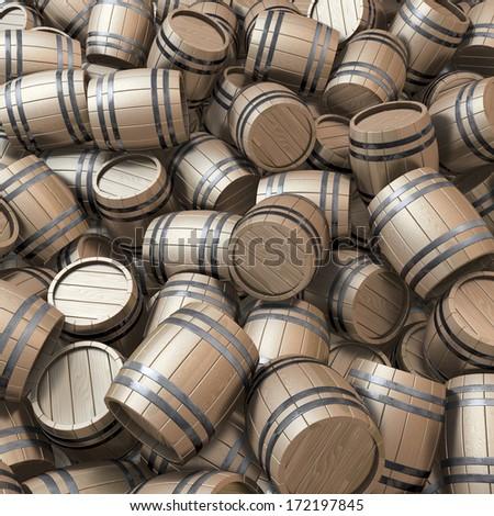 Pool, piles, heap of wooden casks, 3d rendering - stock photo