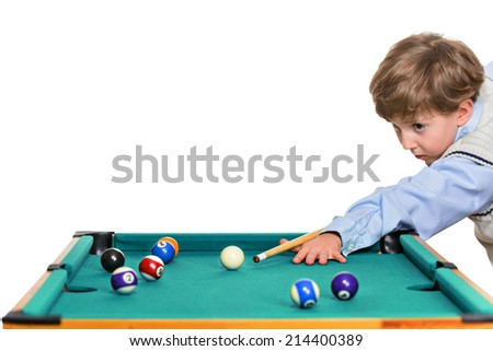Pool Player isolated over white background - stock photo