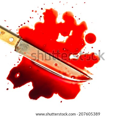 Pool (puddle, stains, droplets) of blood and knife blade on white background close up. Suicide, murder, crime, death, eating meat, violence concept. - stock photo
