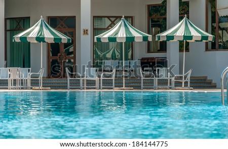 Pool Side at a Hotel in Mahdia, Tunisia - stock photo