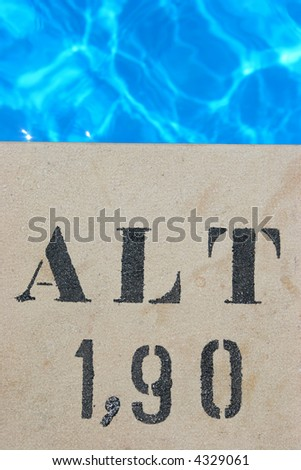 Pool sign 190 cm and pool water