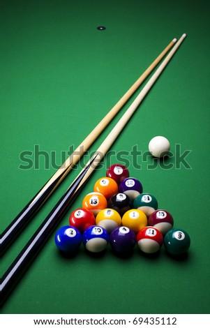 Pool sticks cross - stock photo