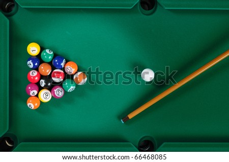 Pool table. - stock photo