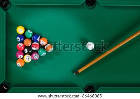 Pool table. - stock photo