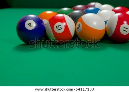 Pool table and balls - stock photo