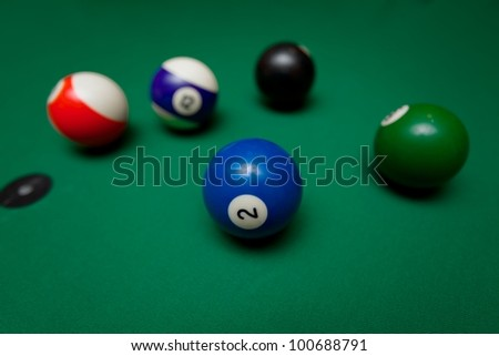 Pool table in game situation