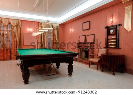 Pool Table  in the empty room. - stock photo