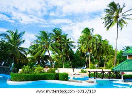 Pool Water Hotel - stock photo