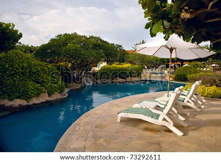 Pool with blue water in a garden