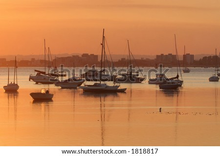 Poole Harbour at Sunset - stock photo