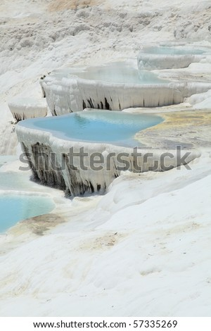 pools made with calcium rich water in Pamukkale - Turkey - stock photo