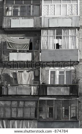 poor balconies - stock photo