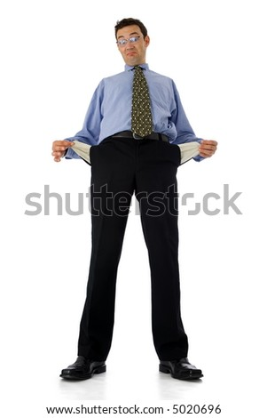 Poor businessman showing his empty pockets
