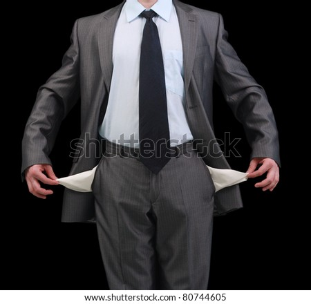 Poor businessman without money - stock photo