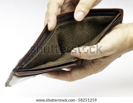 Poor economy represented by empty wallet - stock photo