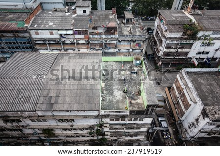 Poor home or slums facade in Bangkok city, Thailand - stock photo