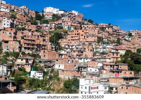 Poor neighborhood in Medellin, Colombia - stock photo