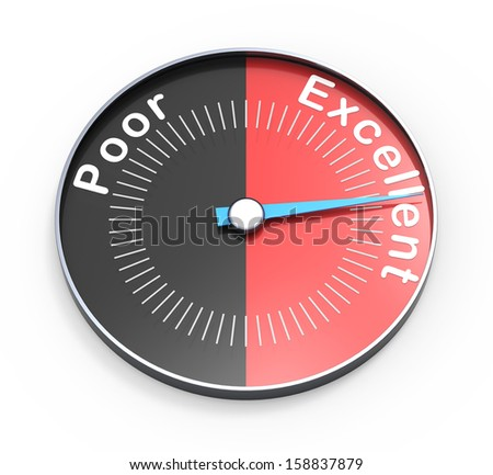 Poor or excellent as a concept on white background - stock photo
