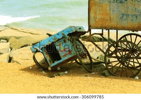 Poor people vehicle shop in beach  - stock photo
