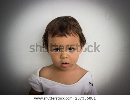 Poor Sad Asian Boy - stock photo